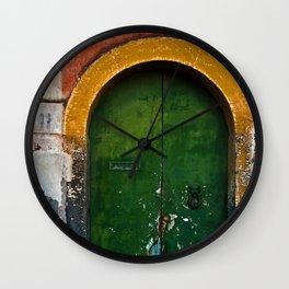 Magic Green Door in Sicily Wall Clock