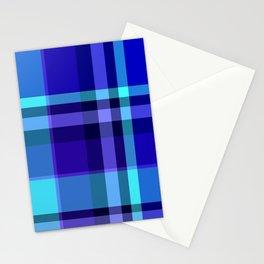 Blue Plaid Pattern Stationery Cards