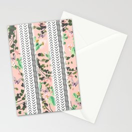 Pattern flowers and cactus Stationery Cards