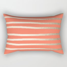 Simply Drawn Stripes in White Gold Sands on Deep Coral Rectangular Pillow