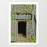 tomb raider Art Prints featuring Tomb Raider Doorway Cambodia by Brian Raggatt