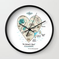 map Wall Clocks featuring A Map of the Introvert's Heart by gemma correll