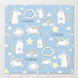 I'm a Unicorn - blue Canvas Print