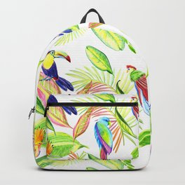 tropical pattern with parrots and toucan Backpack