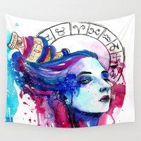 aquarius Wall Tapestries featuring Aquarius by Gabi Xavier