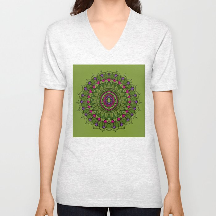 Bohemian Mandala in Green with Pink and Purple Unisex V-Neck