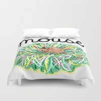 theatre Duvet Covers featuring Theatre Mouse by Rebecca Rogers