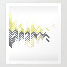 Chevron Sophisticate A – Gold / Yellow / Silver Abstract Pattern Art Print