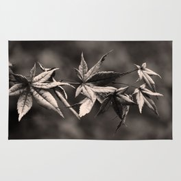 Japanese Maple Leaves in Sepia Rug