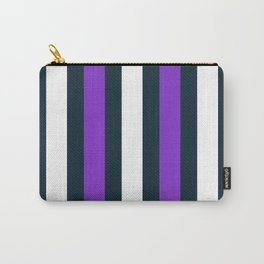 Modern Decorative Purple White Vertical Pattern Stripe Carry-All Pouch