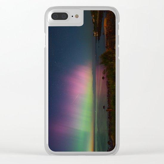 Pink Aurora at Old Garden Beach Clear iPhone Case
