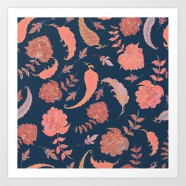 Paradise Patterns - Blue & Coral Art Print