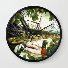 Mallards on the St. Joseph River Wall Clock
