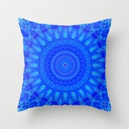 Detailed mandala in blue tones Throw Pillow
