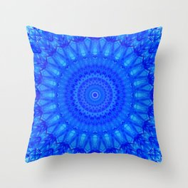Detailed mandala in blue tones Throw Pillow