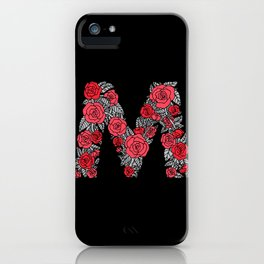 Floral Type - Letter M - Black and Blush iPhone Case
