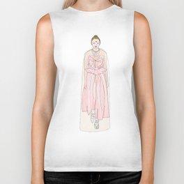 Catwalk in the rosa dress Biker Tank