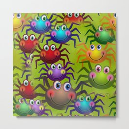Cartoon Spiders Metal Print