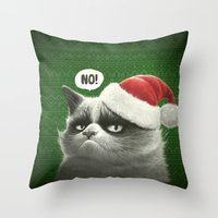 grumpy Throw Pillows featuring Grumpy Xmas by Dr. Lukas Brezak