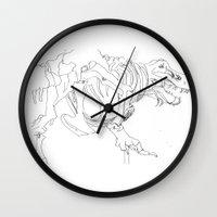 t rex Wall Clocks featuring T-rex by Kimberly Hoskens