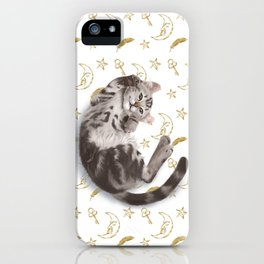 Cat lying down on the moon pattern background iPhone Case