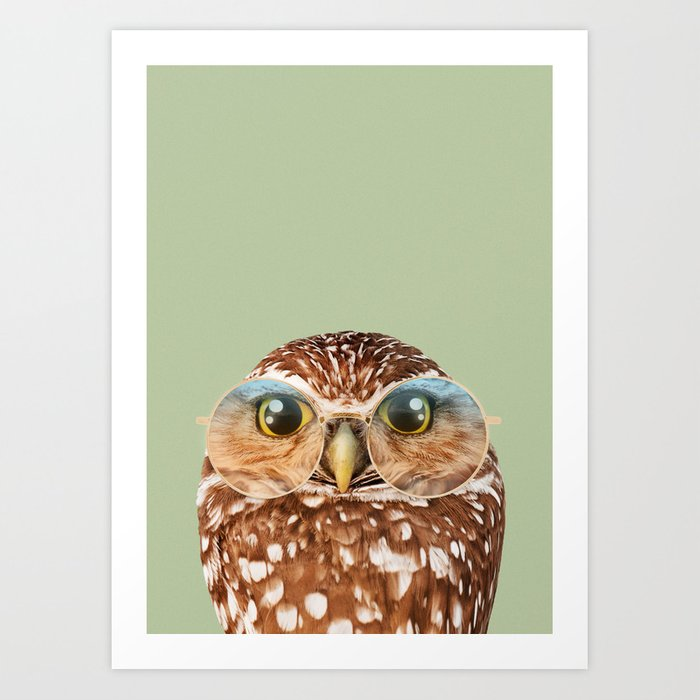 OWL WITH GLASSES Kunstdrucke