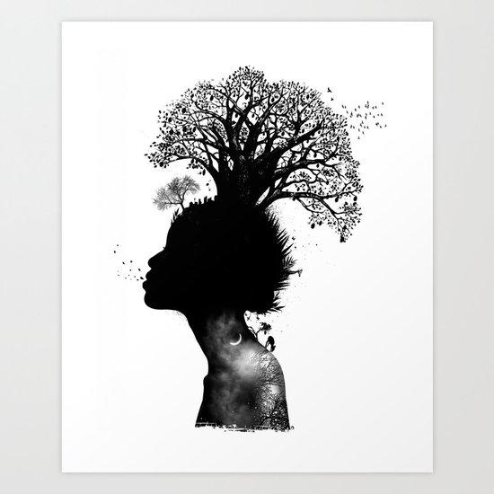 Natural Black Woman Art Print