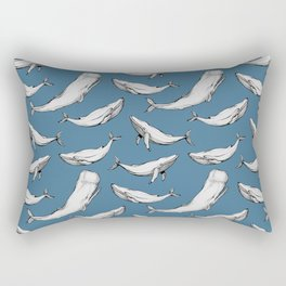 Whales in blue Rectangular Pillow