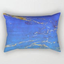 Sky Blue Marble With 24-Karat Gold Nugget Veins Rectangular Pillow