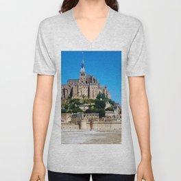 Castle Fortress- Le Mont Saint Michel Unisex V-Neck