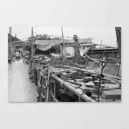 Street Photo - Abandoned - Black and White Canvas Print