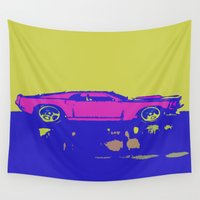 mustang Wall Tapestries featuring lazer mustang by Crockettsky