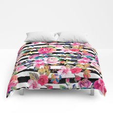 Cute spring floral and stripes watercolor pattern Comforters