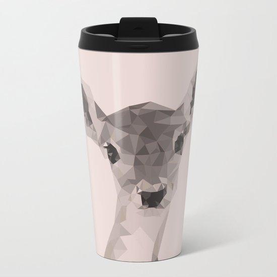 Little deer in pink Metal Travel Mug