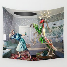Mantis Encounter Wall Tapestry