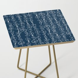 poppy vines on navy Side Table