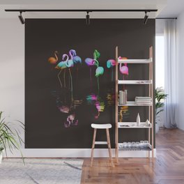 Rainbow Flamingos Wall Mural