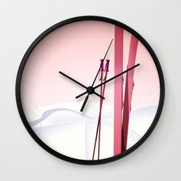 valais Switzerland vintage style ski poster Wall Clock