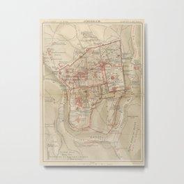 Vintage Map of Jerusalem Israel (1896) Metal Print