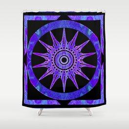Starlit Purple Nights Abstract Mandala Artwork Shower Curtain