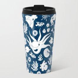 Cephalopods: Background Blue Travel Mug