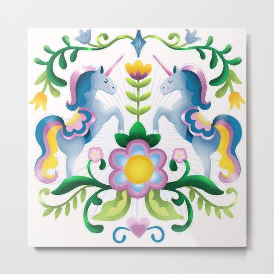 The Royal Society Of Cute Unicorns Light Background Metal Print