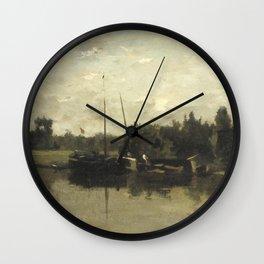 Charles-François Daubigny - Landschap met schepen op een rivier in de avond Wall Clock