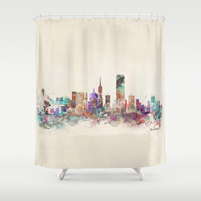 San Francisco city Shower Curtain by bribuckley   Society6
