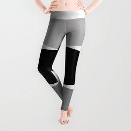 Sitting - Zen Abstract - Black White Grey Leggings