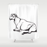 totes Shower Curtains featuring Totes my Goats by bellandpixel