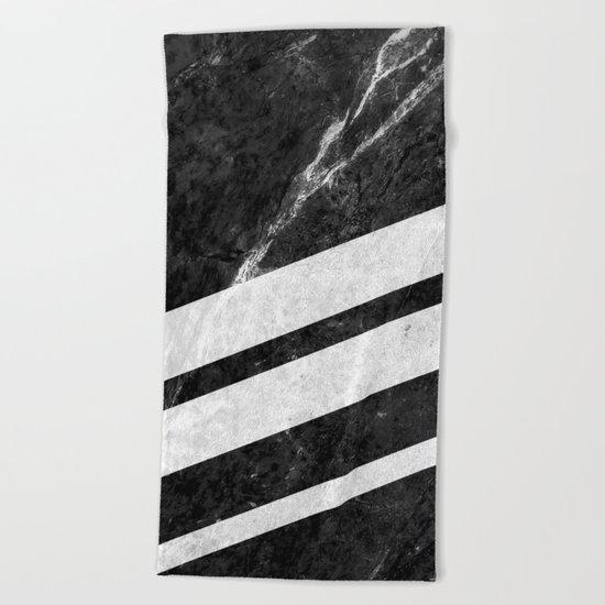 Black Striped Marble Beach Towel