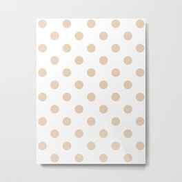Polka Dots - Pastel Brown on White Metal Print