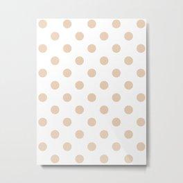 Polka Dots - Pastel Brown on White Metal Print