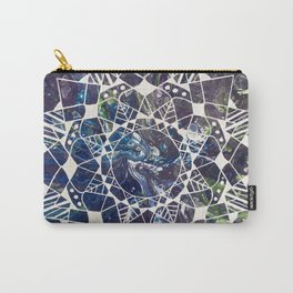 White Mandala on Purple Fluid Acrylic Painting Carry-All Pouch